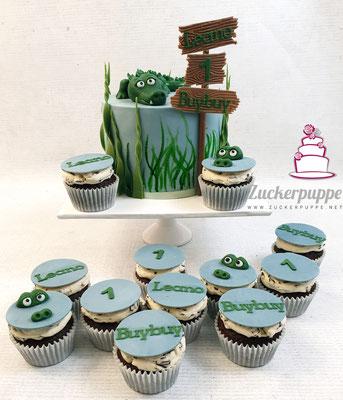 Krokodiltorte mit passenden Cupcakes zum ersten Geburtstag von Leano