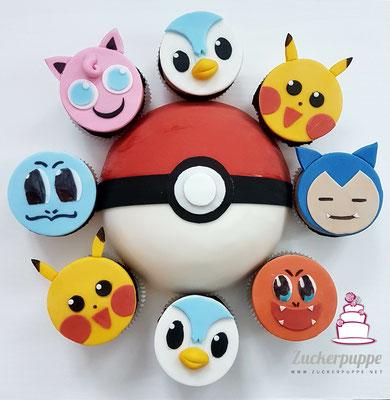 Pokeball-Torte und Pokemonmuffis zum 9. Geburtstag von Alessandro
