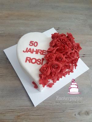 Ein Herz aus Rosen zum 50. Geburtstag von Rosi