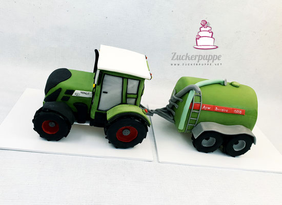 Fendt 720 Traktor mit Güllefass Agrar Swissline 15000 zum 30. Geburtstag von Andreas