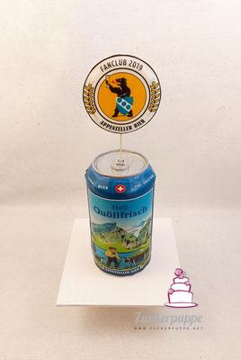 Quöllfrisch - Dose zur ersten offiziellen Pressekonferenz des Appenzeller - Bier - Fanclub