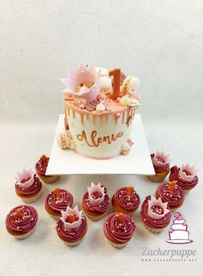 Krönchen Torte und dazu passende Cupcakes zum ersten Geburtstag von Alenia
