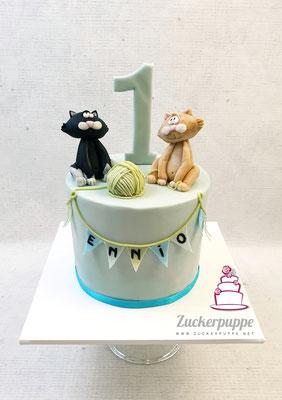 Zum ersten Geburtstag von Ennio gab es seine beiden Katzen aus Zucker