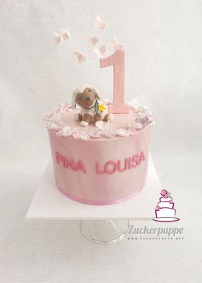 Das Kuschelschäfchen aus Zucker nachmodelliert zum ersten Geburtstag von Pina Louisa