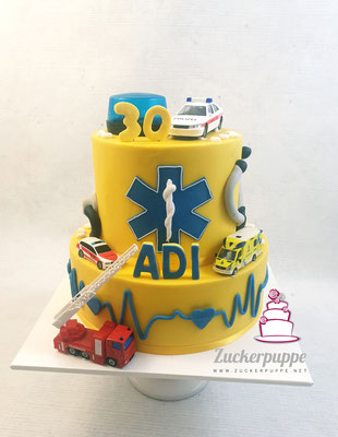 Rettungstorte (Farben der st. Galler Rettung) mit Feuerwehr und Polizeiauto zum 30. Geburtstag von Adi