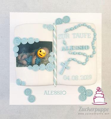 Buch-Torte zur Taufe von Alessio