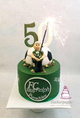 FCSG - Torte mit Pyro-Fan zum 50. Geburtstag von Ralph