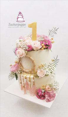 Traumfänger und Blumenbouquet zum ersten Geburtstag von Lena