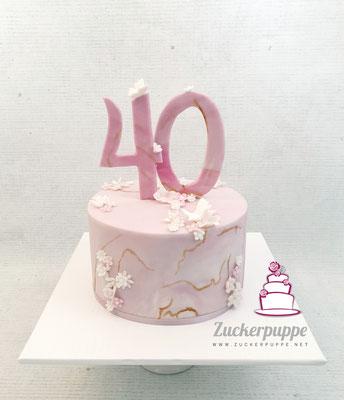 Marmor Torte mit Rosa Blümchen zum 40. Geburtstag von Astrid