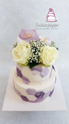 Marmorierte violette Sechsecke zum 72. Geburtstag von meinem Grosi Emmi