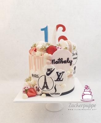 Dripcake zum Thema Paris zum 16. Geburtstag von Nathaly