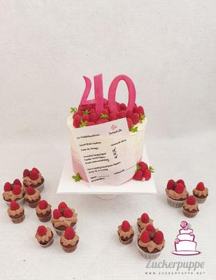 Himbeer - Torte und Cupcakes mit SwissLife-GlücksVertrag zum 40. Geburtstag von Daniel