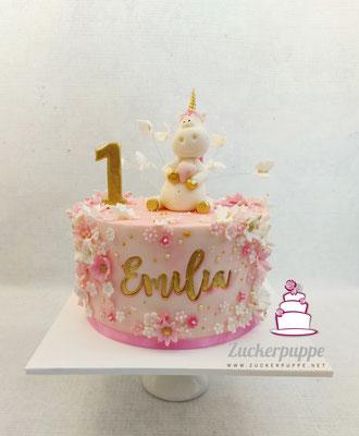 Einhorn mit Blümchen zum ersten Geburtstag von Emilia