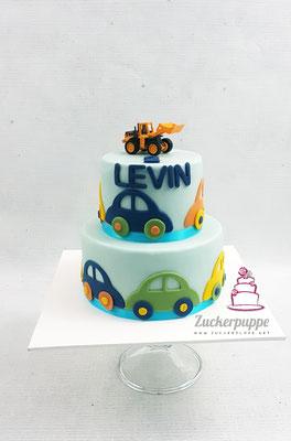 Autotorte mit Spielzeugbagger zum 2. Geburtstag von Levin