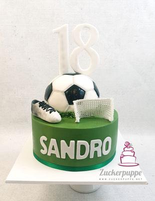 Fussballtorte zum 18.Geburtstag von Sandro