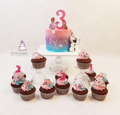 Prinzessin Sophia und Olaf mit einem Farbverlauf vereint, dazu die passenden Cupcakes zum 3. Geburtstag von Eyleen