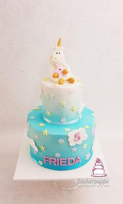 Einhorn im Himmel mit Wölkchen und Sternchen in Pastellfarben zum 5. Geburtstag von Frieda