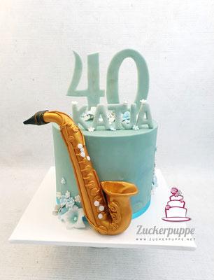 Saxophon Torte zum 40. Geburtstag von Katja