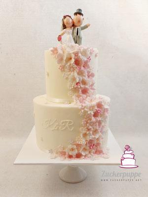Rosa Blütenfluss zur Hochzeit von Katja und Ramon