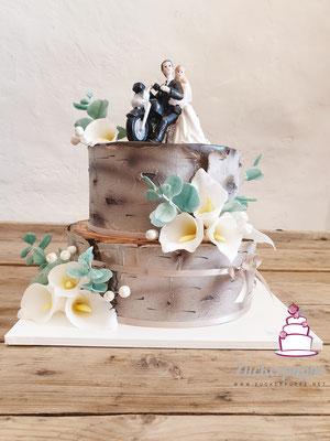Birkentorte mit Calla und Eucalyptus zur Hochzeit von Mirjam und Rene