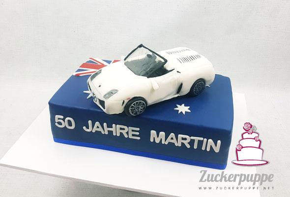 Australienflagge und Lamborghini Gallardo lp560-4 Spyder aus Zucker zum 50. Geburstag von Martin