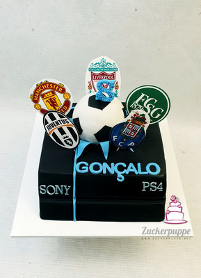 PS4 - Torte mit den Lieblingsfussballclubs zum 8. Geburtstag von Gonçalo