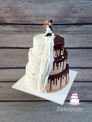 Braun - Weisse Torte mit Spitze und Schokoladenglasur zur Hochzeit von Nadja und Mirco