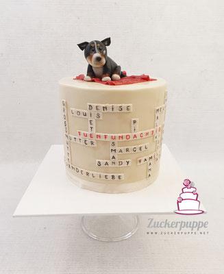 Kreuzworträtsel-Torte mit Chihuahua Willy zum 85. Geburtstag von Gisela