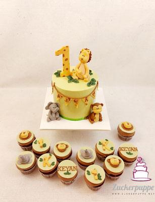 Safaritorte und passende Cupcakes zum ersten Geburtstag von Keyan