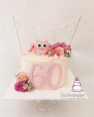 Frische Blumen und eine Eule zum 60. Geburtstag von Marianne