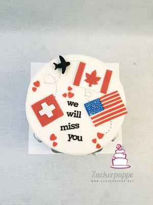 AbschiedsTorte für Melisa, dir für 3 Monate in die USA und nach Kanada reist