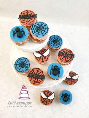 Spidermancupcakes zum 4. Geburtstag von Aaron
