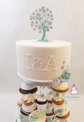 Cupcakes und Torte schlicht in weiss, türkis und silber, im Design der Einladungskarte zur Hochzeit von Isabelle und Adrian