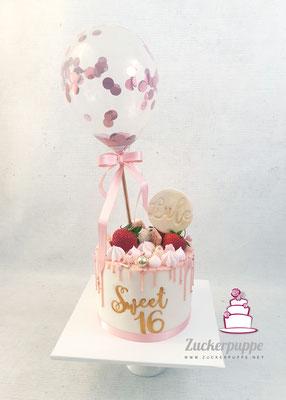 Dripcake mit Konfettiballon zum 16. Geburtstag von Luljeta