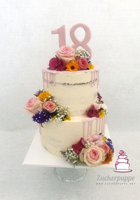 Seminaked- Cake mit altrosa Drip zum 18. Geburtstag von Sophia