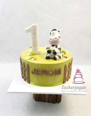 kleine gefleckte Kuh zum ersten Geburtstag von Jerom