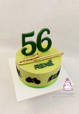 Handmodellierte Posaune zum 56. Geburtstag von René, der viel Zeit auf seinem Fahrrad verbringt