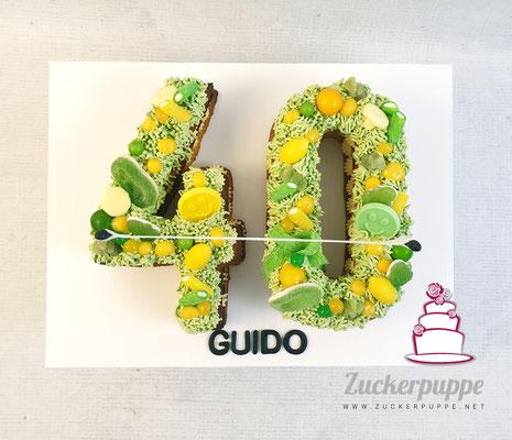 Numbercake zum Thema Tennis und Zitronen zum 40. Geburtstag von Guido