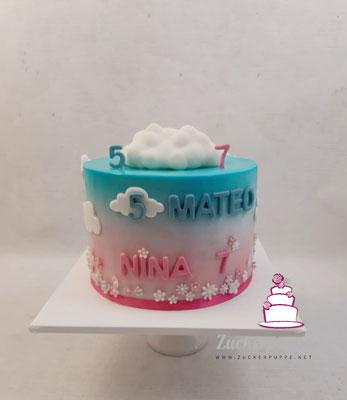 Wölkchen und Blümchen zum 5. Geburtstag von Mateo und zum 7. Geburtstag von Nina