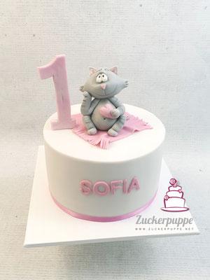 Kätzchen - Torte zum ersten Geburtstag von Sofia