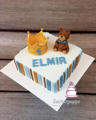 Krone und Teddybär zum 1. Geburtstag Elmir