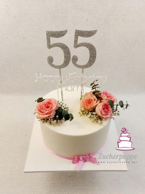 Schlichtes Törtchen mit rosa Rosen zum 55. Geburtstag von Anja