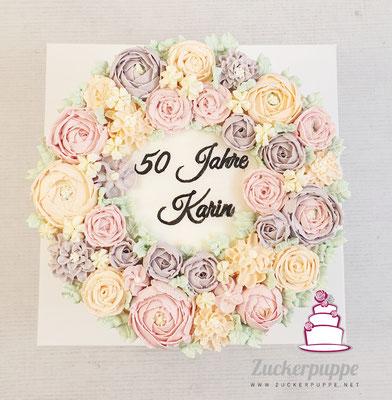 Buttercreme - Blüten zum 50. Geburtstag von Karin