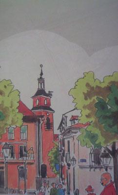 Dibujo de la la plaza e iglesia