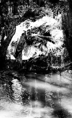 Fil de l'eau 50. Montage photographique, impression jet d'encre contrecollée sur dibond, 70 x 50 cm.