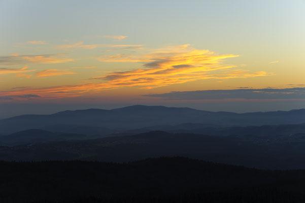 Sonnenuntergang am Lusen, NP Bayerischer Wald (D)