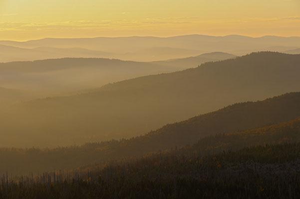 Berge im Abendlicht, NP Bayerischer Wald (D)