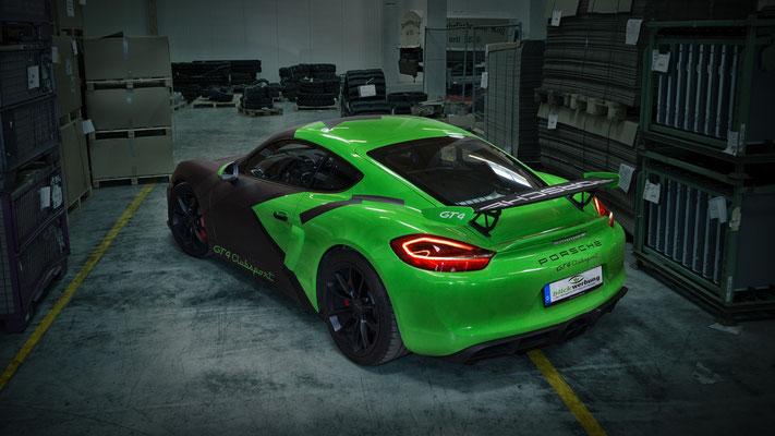 Porsche Cayman GT4 Auto Folierung, KFZ Folierung - von Weiß auf Mattschwarz, Carbon, Leuchtgrün - Blickwerbung in Crailsheim - Grün und Schwarz
