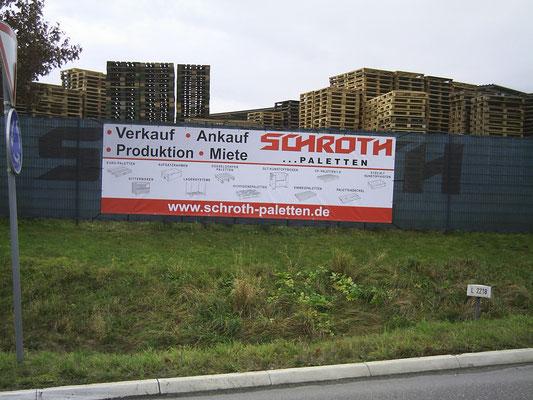 Blickwerbung Crailsheim - Bauzaunwerbung, Bannerwerbung, Banner gesäumt und geöst, Schroth, im Kreis Schwäbisch Hall