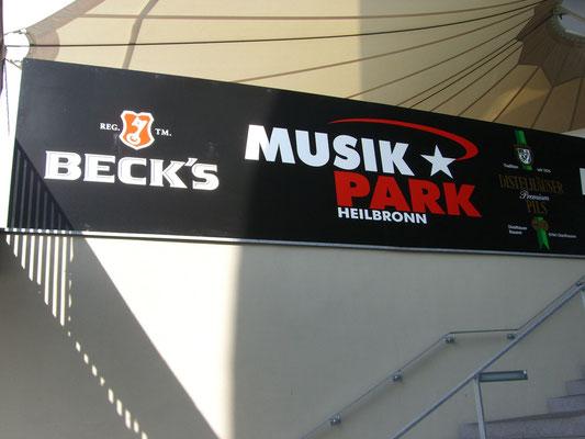 Blickwerbung Crailsheim - Bauzaunwerbung, Bannerwerbung, Banner gesäumt und geöst - Musik Park im Kreis Schwäbisch Hall